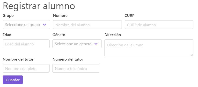 Control escolar web - Registrar alumno