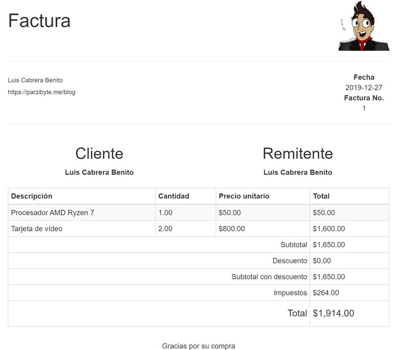 Diseño de factura PDF con PHP