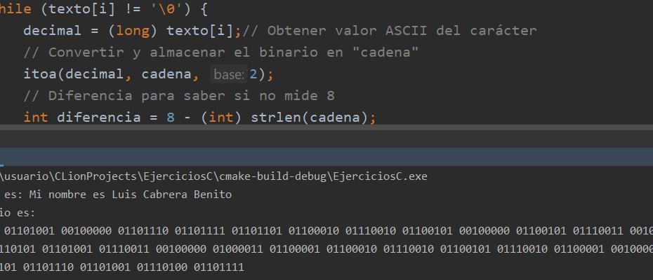Ejecución de algoritmo - Texto a binario en C