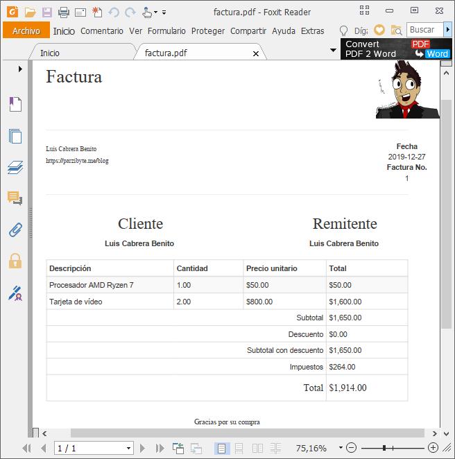 Factura PDF con PHP - Documento PDF