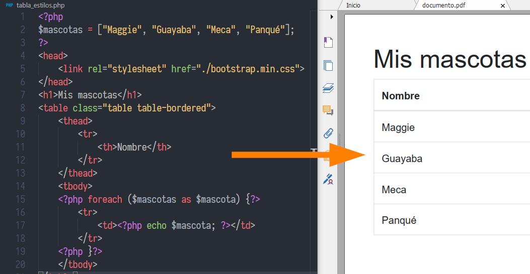 HTML a PDF con PHP usando dompdf y Bootstrap