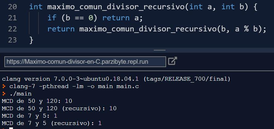 Máximo común divisor en C con algoritmo de Euclides - Ejecución del programa