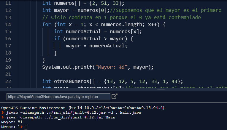 Mayor y menor de 3 números en Java
