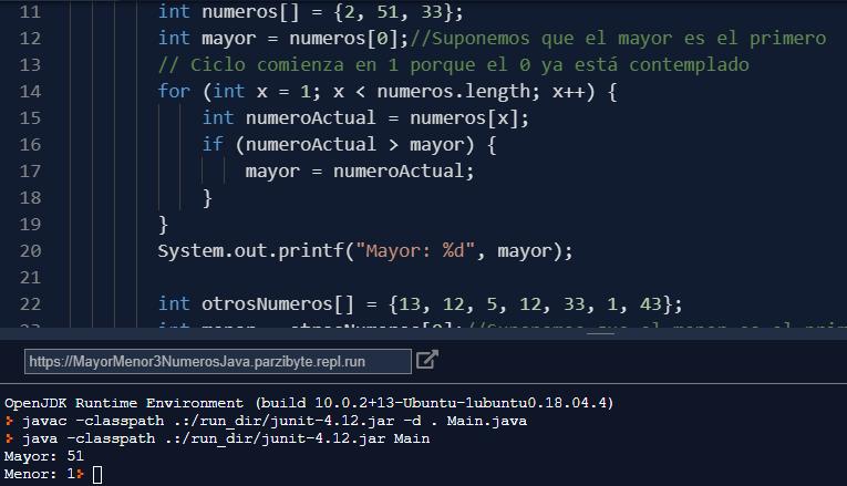 Mayor y menor de 3 números en Java