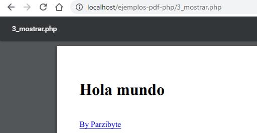 Mostrar PDF en navegador con PHP