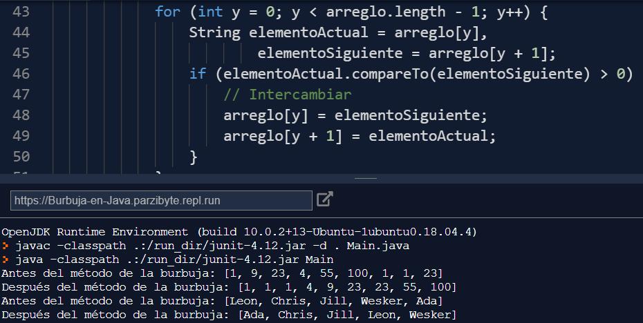 Ordenamiento de burbuja en Java - Ejecución del código