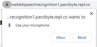 Permiso de acceso al micrófono para reconocimiento de voz en la web con JS