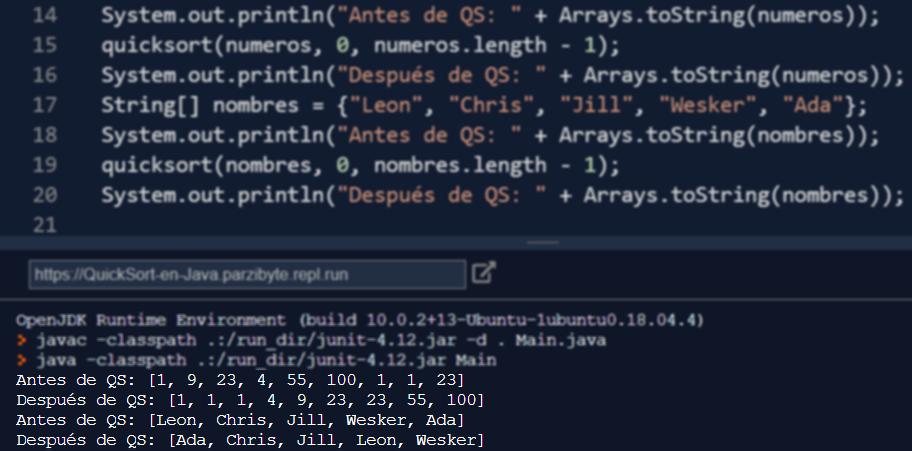 Quicksort en Java - Ejecución del método para ordenar arreglos