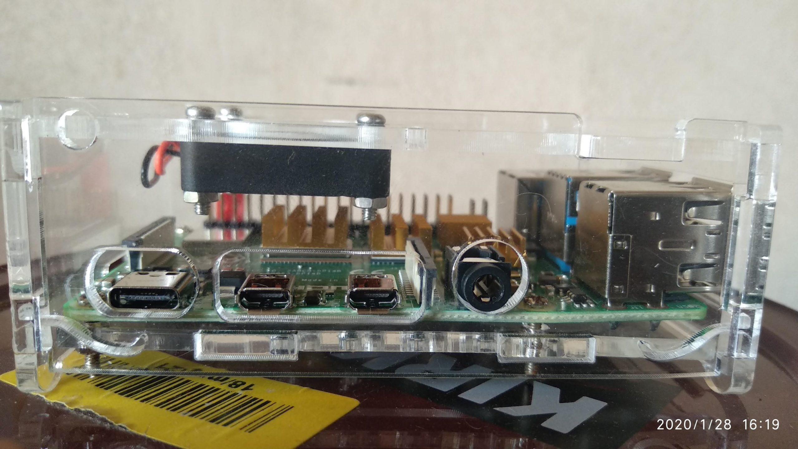 Carcasa Raspberry Pi 4 - Lado de HDMI y alimentación