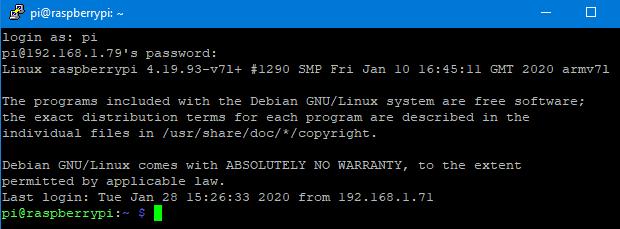 Conexión SSH por Putty a Raspberry Pi 4