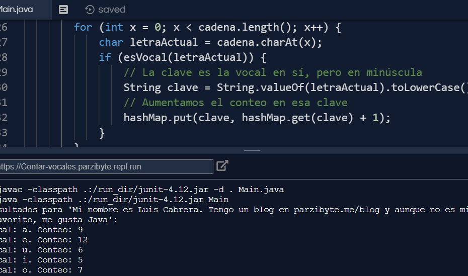 Contar vocales de cadena en Java - Ejecución del código