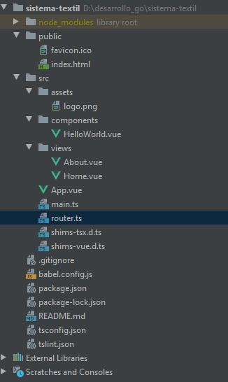 Estructura del proyecto Vue con TypeScript