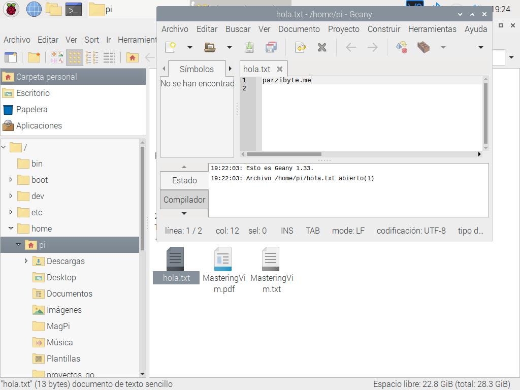 Explorando archivo creado en Raspberry Pi
