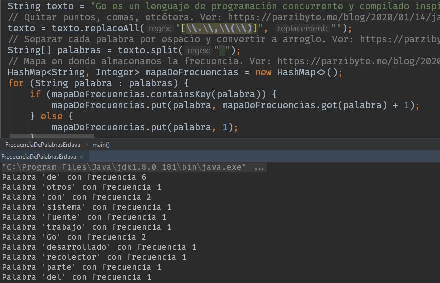 Frecuencia de palabras en Java