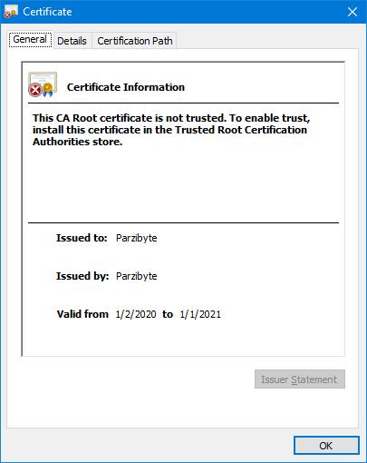Información del certificado https