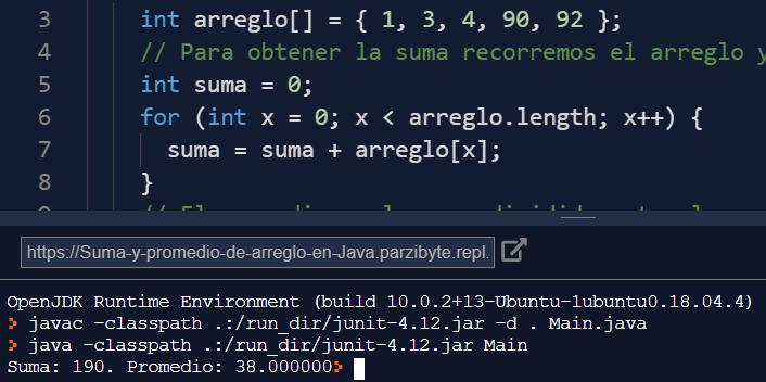 Java - Suma y promedio de arreglo