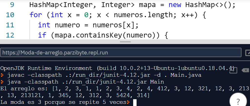 Moda de arreglo en Java - Ejecución del programa