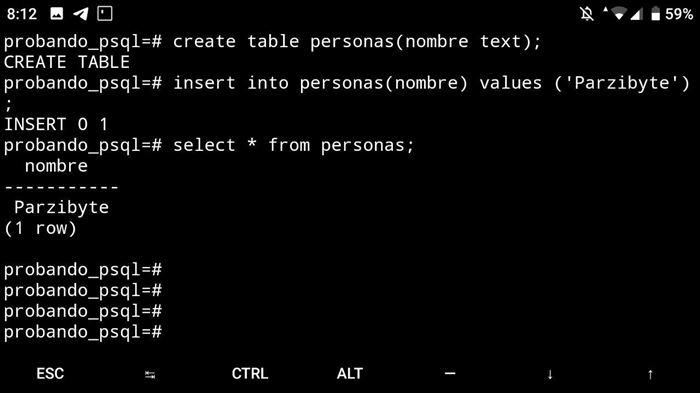 Probando consultas en PostgreSQL sobre Android usando Termux