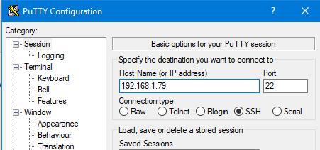 Putty para conectar a Raspberry Pi 4