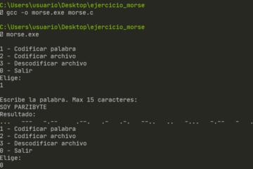 Código Morse en C - Ejercicio con archivos de texto