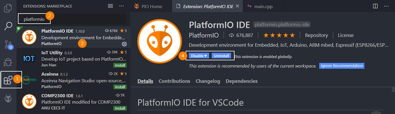 Instalar PlatformIO en vscode