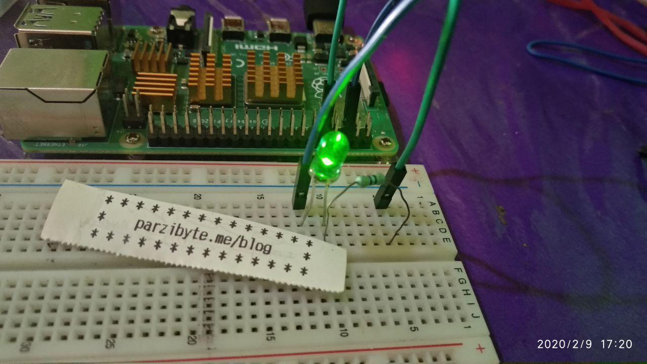 LED encendido con Raspberry Pi y comando gpio write