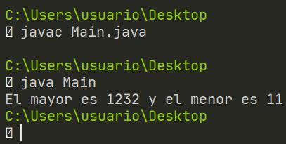 Mayor y menor de matriz en Java