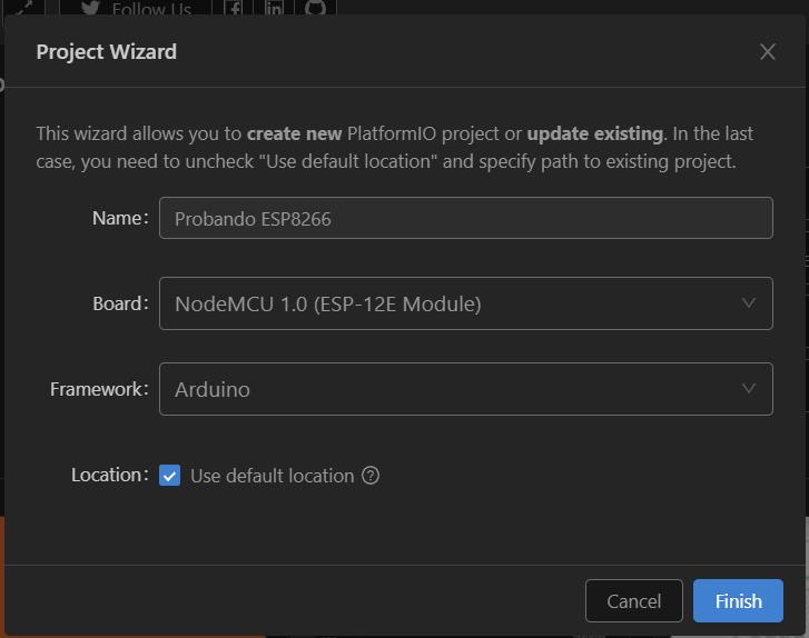 Nuevo proyecto para NodeMCU ESP8266 en Visual Studio Code