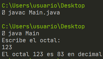 Octal a decimal en Java - Algoritmo