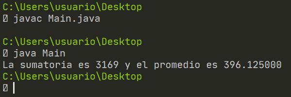 Promedio y sumatoria de matriz en Java