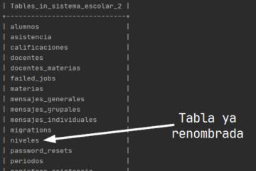 Renombrar tabla en MySQL