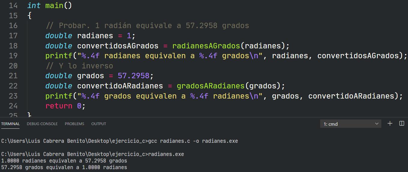 Conversión entre grados y radianes en C