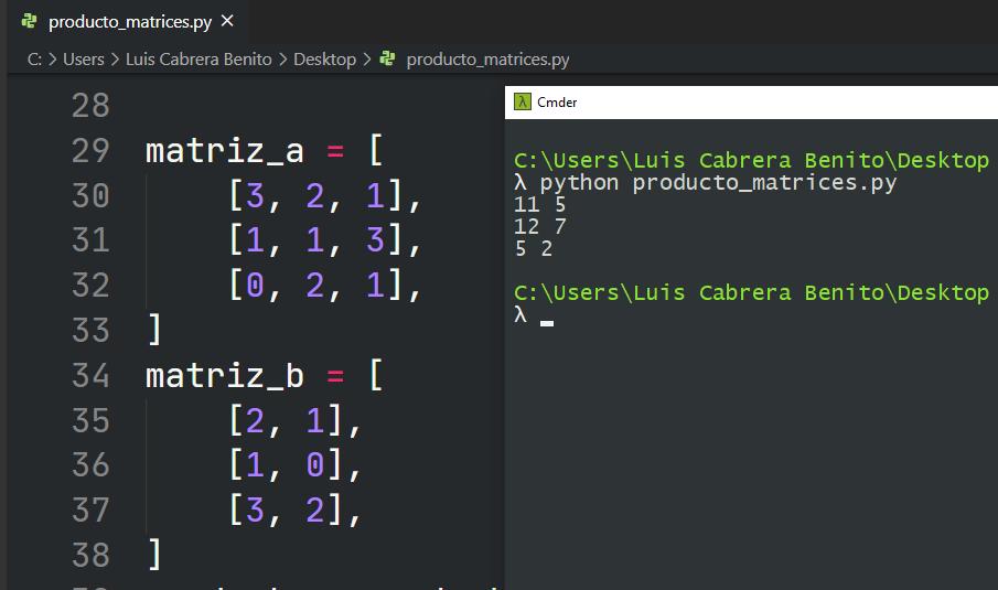 Producto de matrices en Python - Multiplicación