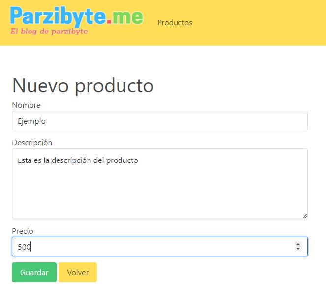 Agregar nuevo producto usando formulario, JavaScript y AJAX
