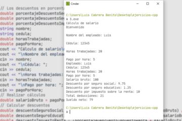 C++ - Cálculo del salario con deducciones - Ejercicio resuelto