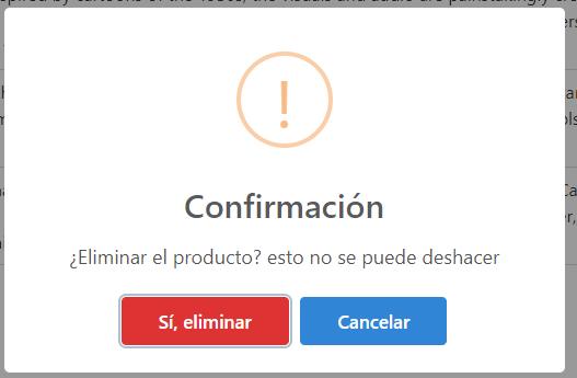 Confirmación con SweetAlert para eliminar producto usando AJAX, PHP y MySQL