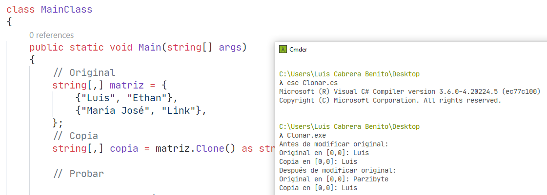 Crear copia de arreglo en c sharp usando Clone