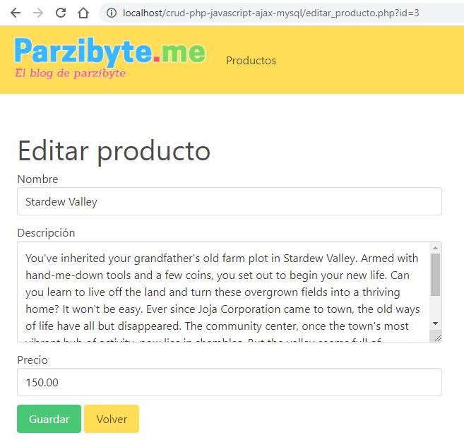 Editar producto - Ejemplo completo de conexión JavaScript con PHP y MySQL usando AJAX