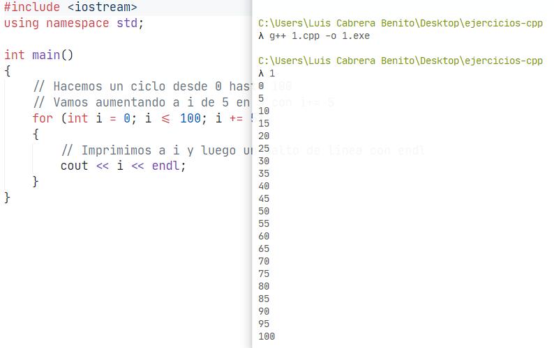 Ejercicio resuelto en C++. Imprimir números de 5 en 5 hasta el 100