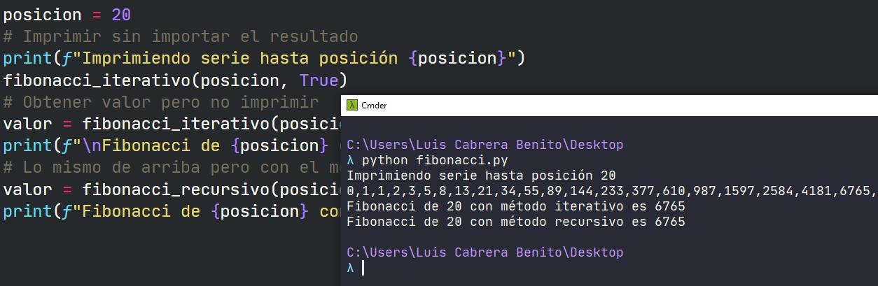 Fibonacci en Python - Método iterativo, recursivo e impresión de serie