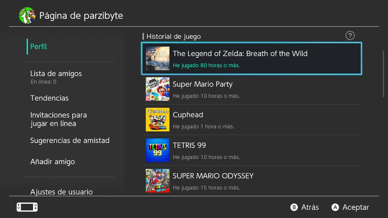 Horas de juego de Zelda BotW