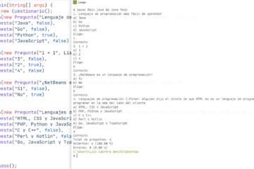 Java - Implementación de un cuestionario o examen con preguntas, respuestas y resultados de aciertos con porcentajes