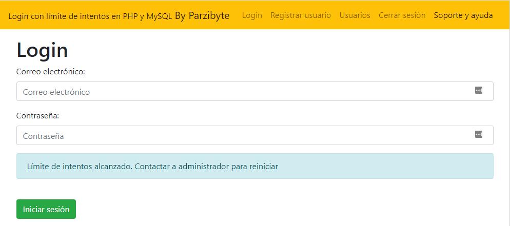 PHP y MySQL - Login con máximo número de intentos