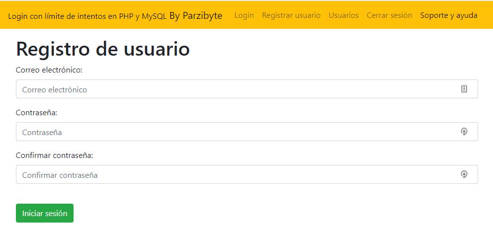 Registro de usuarios - Ejemplo de inició de sesión con PHP usando límite de intentos