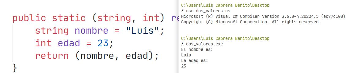 Regresar dos o más variables en función de C sharp