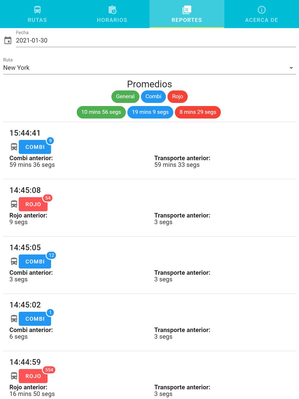 Reporte de horarios de transporte público y promedios con app checador de transporte público