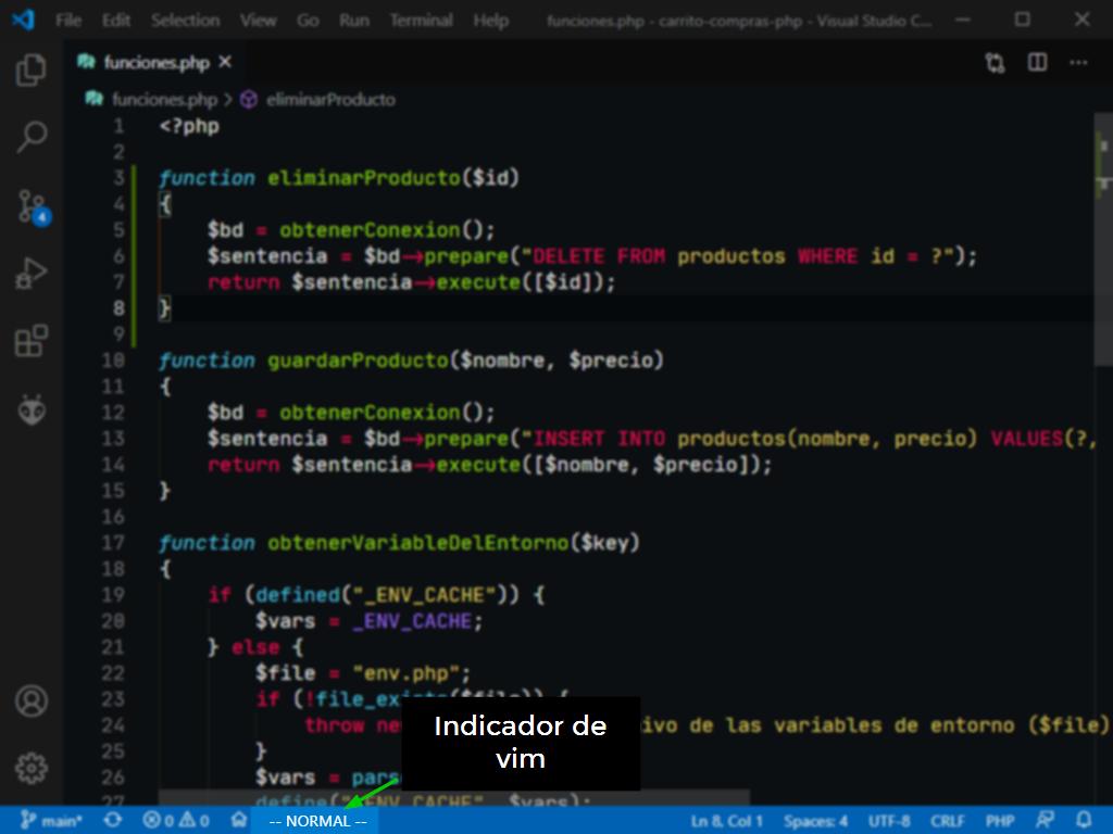 Vim integrado dentro de Visual Studio Code