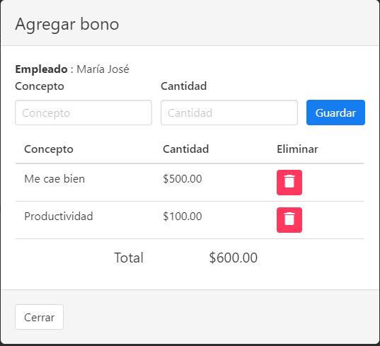 Agregar bono a empleado - Software web para control de maquila