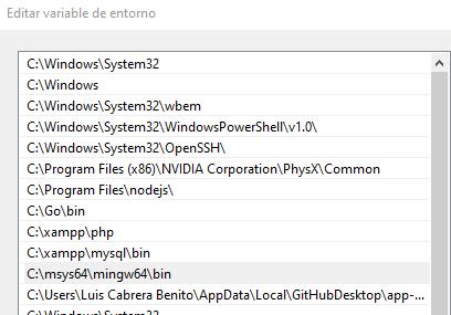 Agregar msys2 mingw64 a la PATH de Windows