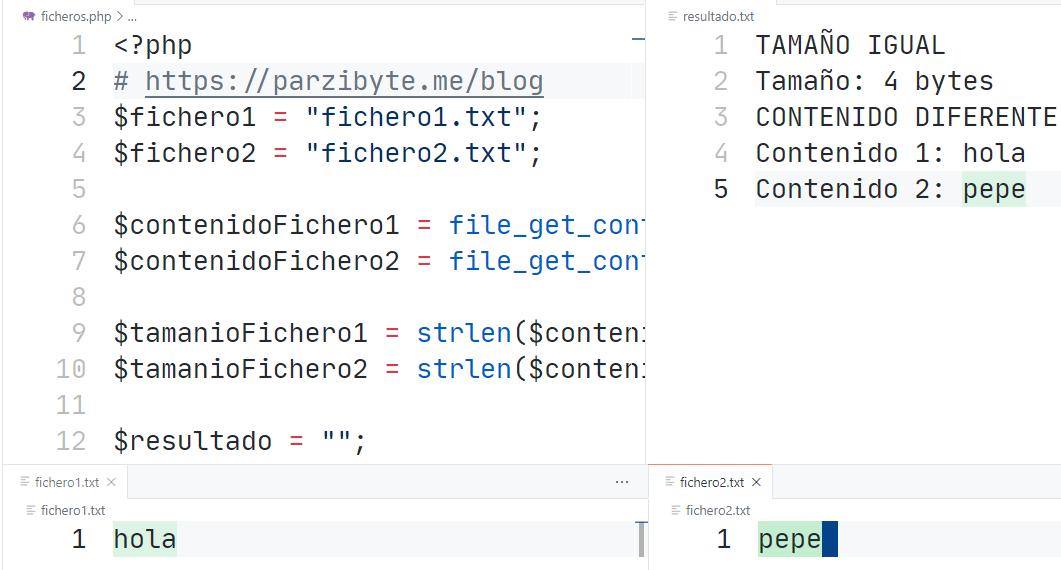 Comparar ficheros en PHP - contenido y tamaño - Ejercicio resuelto